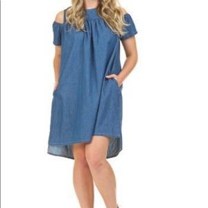 PAPILLON Denim Cold Shoulder Dress Blue Size Large